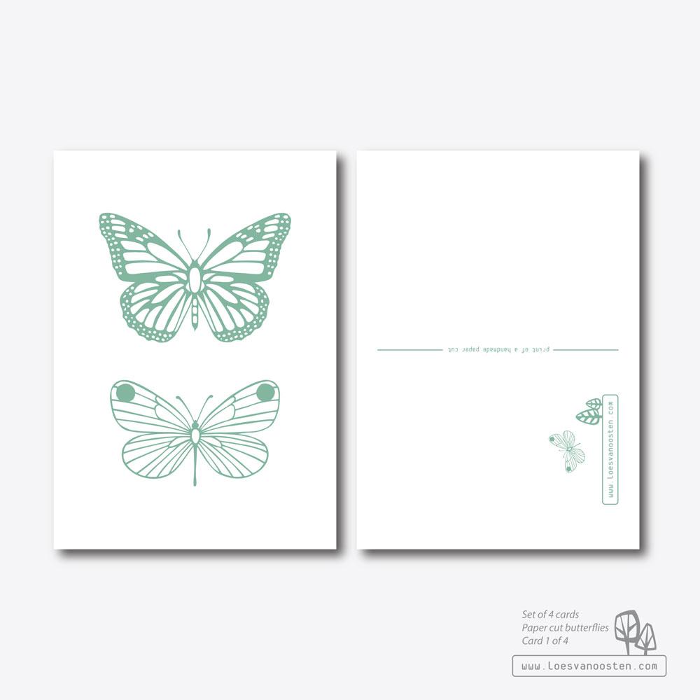 Paper cut butterflies card set 1-4