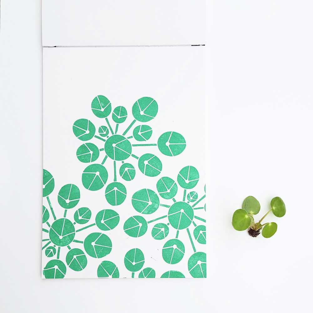 Block print pilea plant