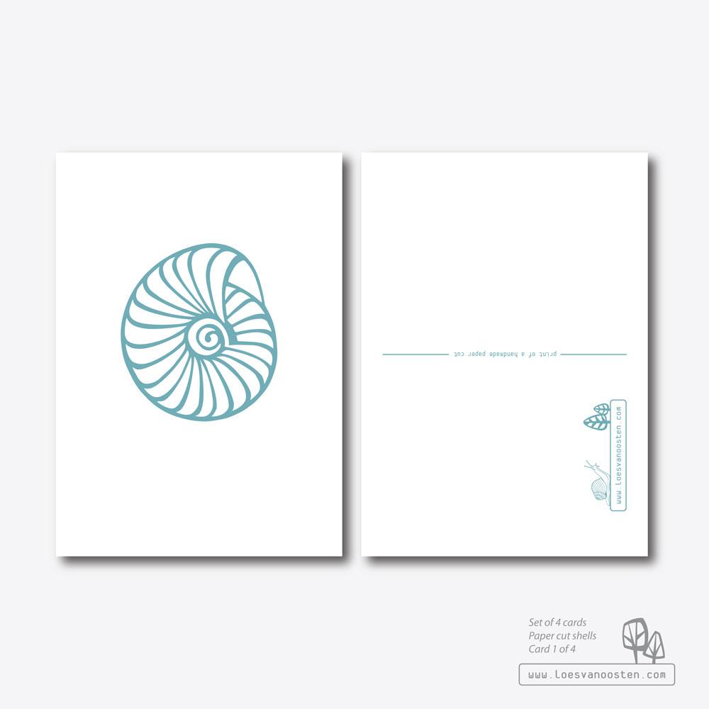 Paper cut shells card set 1-4